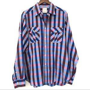 Billy Reid Checkered Button up Long Sleeve Shirt